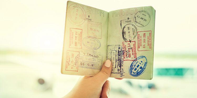 Stamps inside a passport.