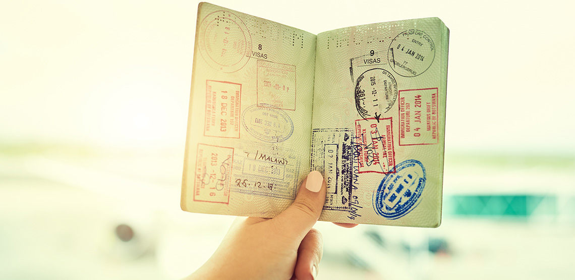 Stamps inside a passport.