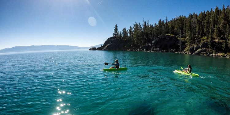 Two people kayaking in Lake Tahoe