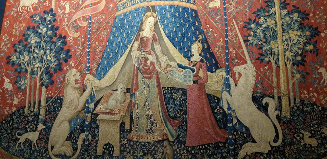 One of the tapestries in the Lady and the Unicorn series.