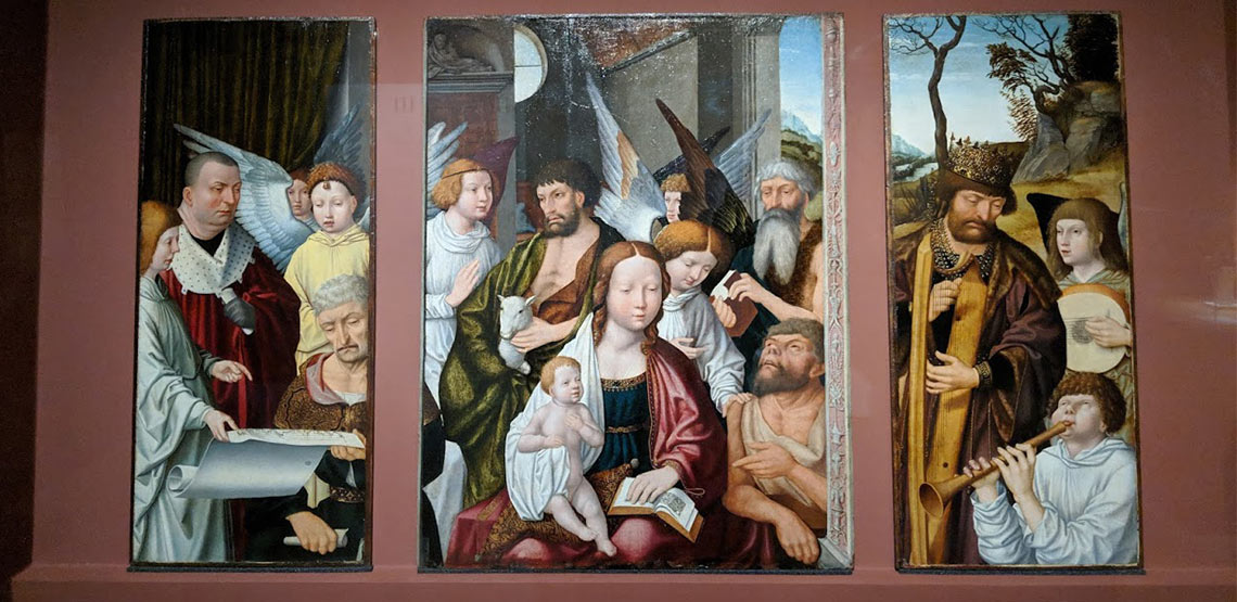 Three-panel painting