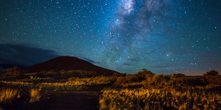 Starry sky over Mauna Kea in Hawaii