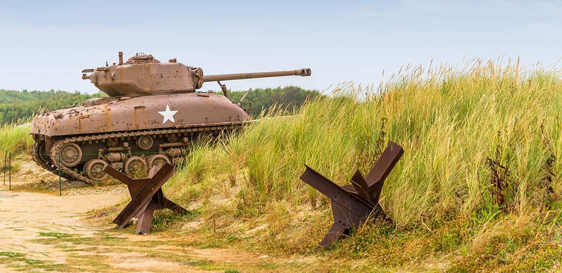 Tank sitting among long grasses of a beach.
