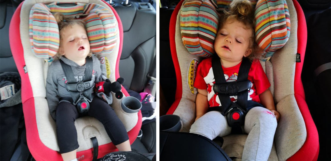 Two photos of little girl sleeping in car seat in backseat