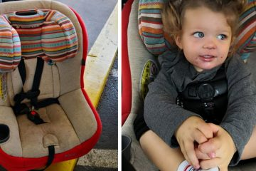 Empty car seat and little girl in car seat