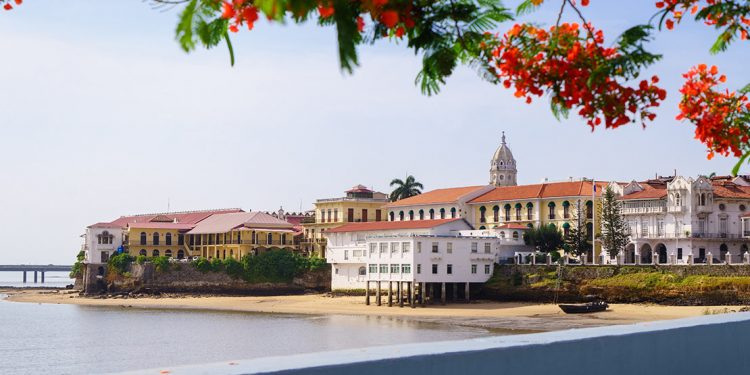 View of Spanish-looking buildings by the water