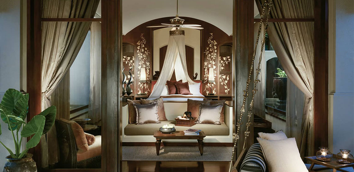 Opulent interior of hotel room