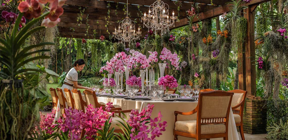 Opulent table covered with flowers