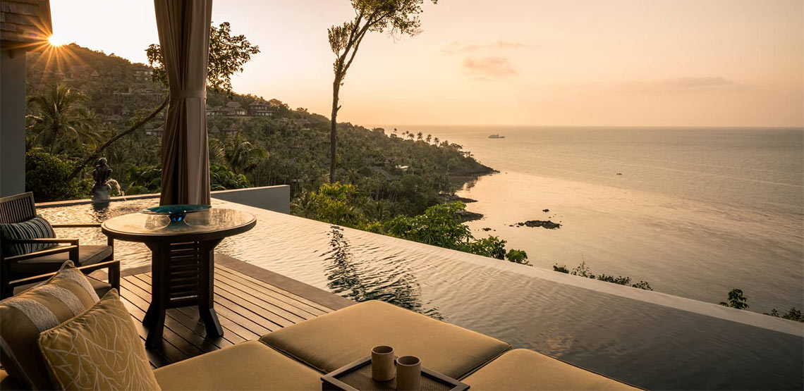 Infinity pool overlooking coast