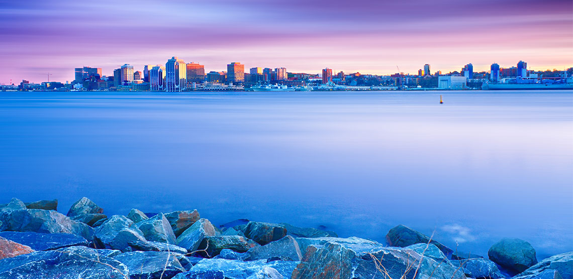 Halifax skyline across the water.