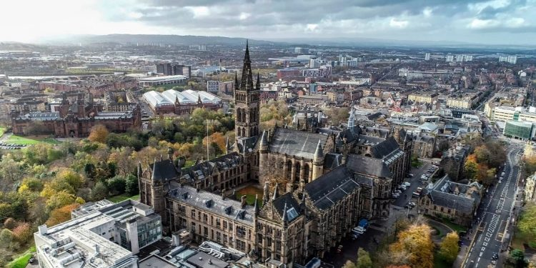 Aerial view of Glasgow with historic church