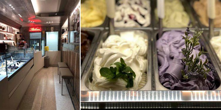 Left: interior of gelato counter. Right: Purple and white gelato