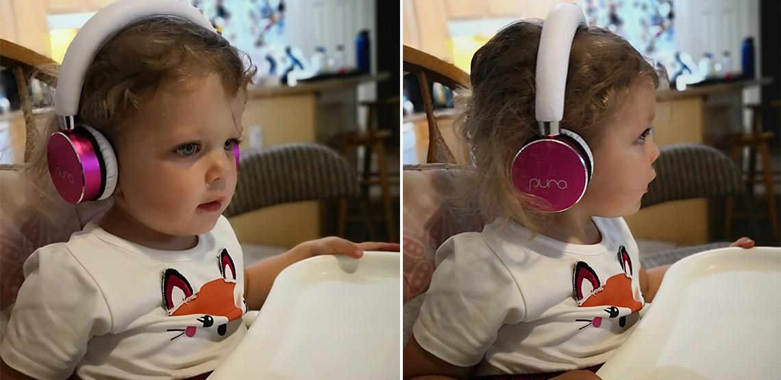 Two photos of little girl wearing headphones