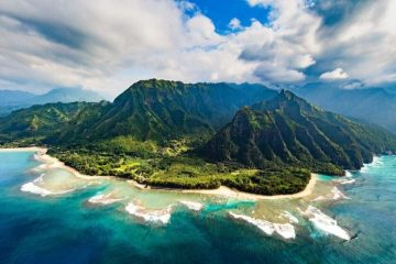 The Napali Coast from a helicopter
