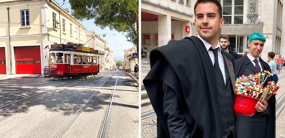 Left: streetcar. Right: prep school uniforms