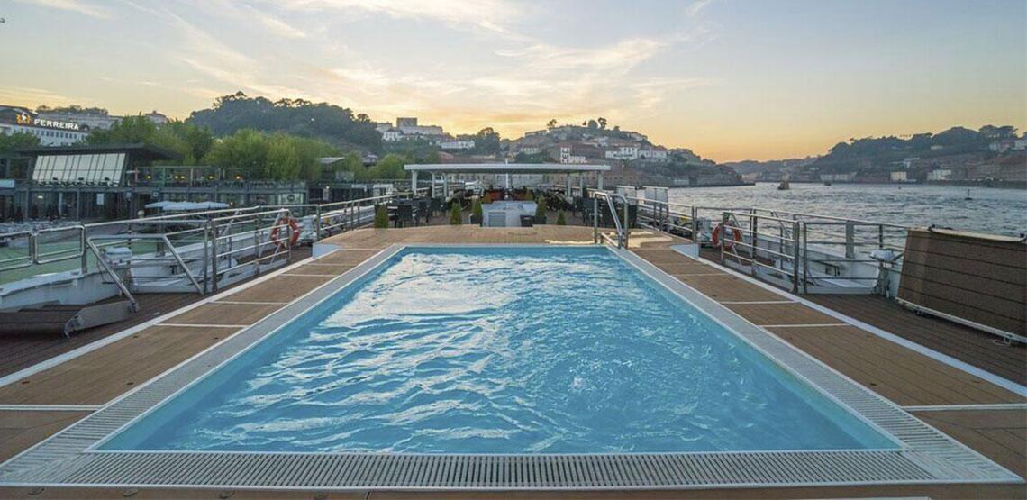 Pool atop a cruise ship