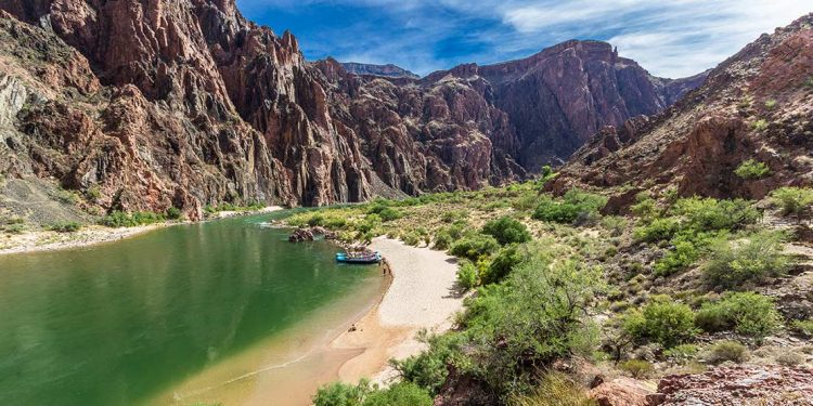 Small rafts rest on a sandy shore by the green Colorado River while the peaks of Grand Canyon cliffs rise around them.