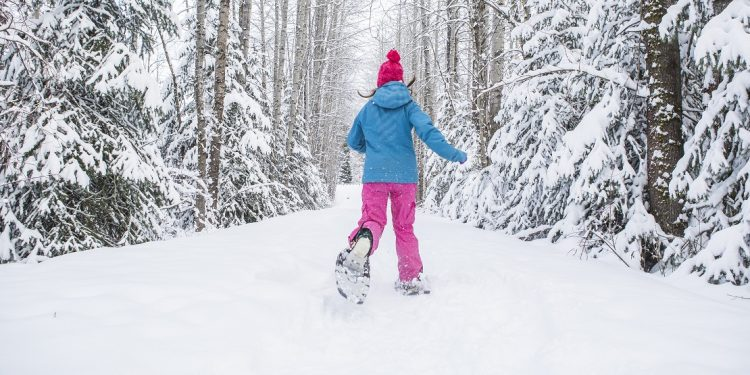 A woman in teal and pink snowshoeing down a wooded path.