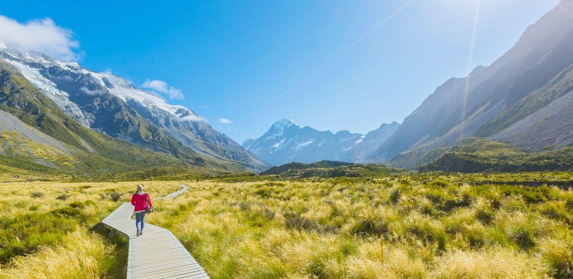Someone walking on a boardwalk in New Zealand.