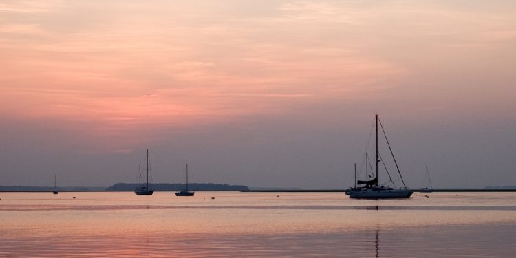 Sunrise paints the sky and waters of a placid harbor a pearlescent pink.