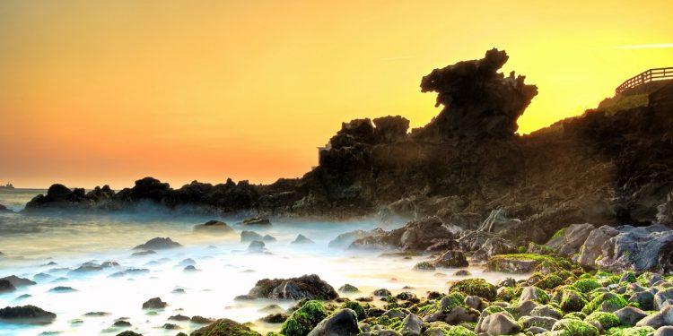 The sun rises behind craggy, volcanic rocks bordering a moss-covered seashore.