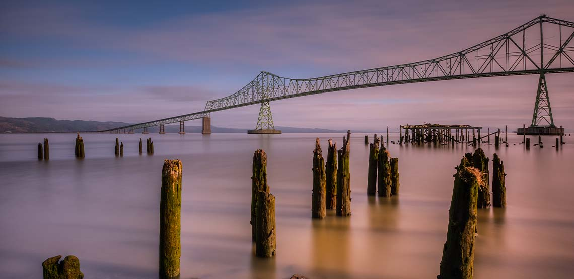 The Astoria Megler Bridge at sunset.