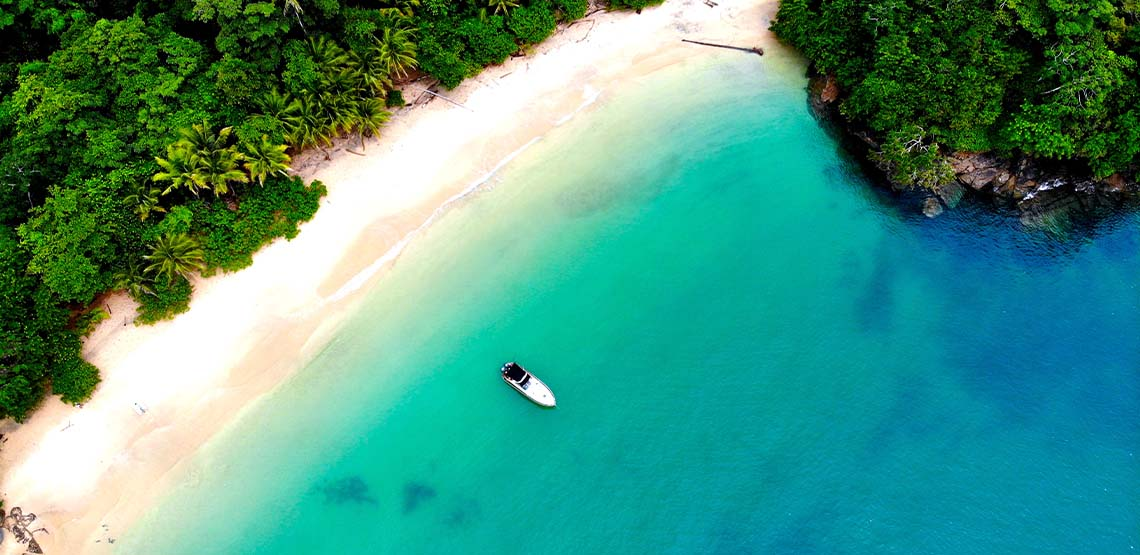 An overhead shot of Panama's blue waters.