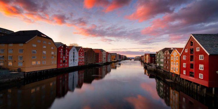 Scandinavia canals at sunset.