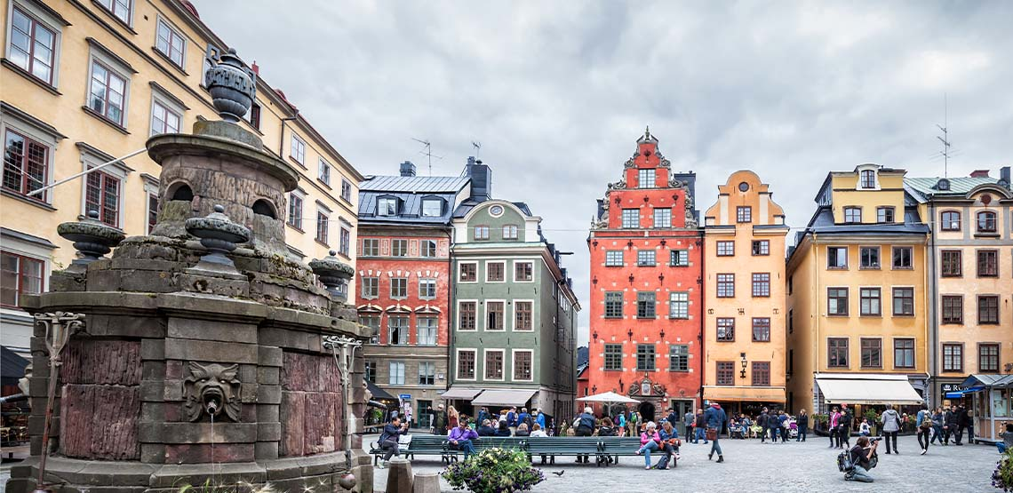 Stockholm scenery with colorful buildings.