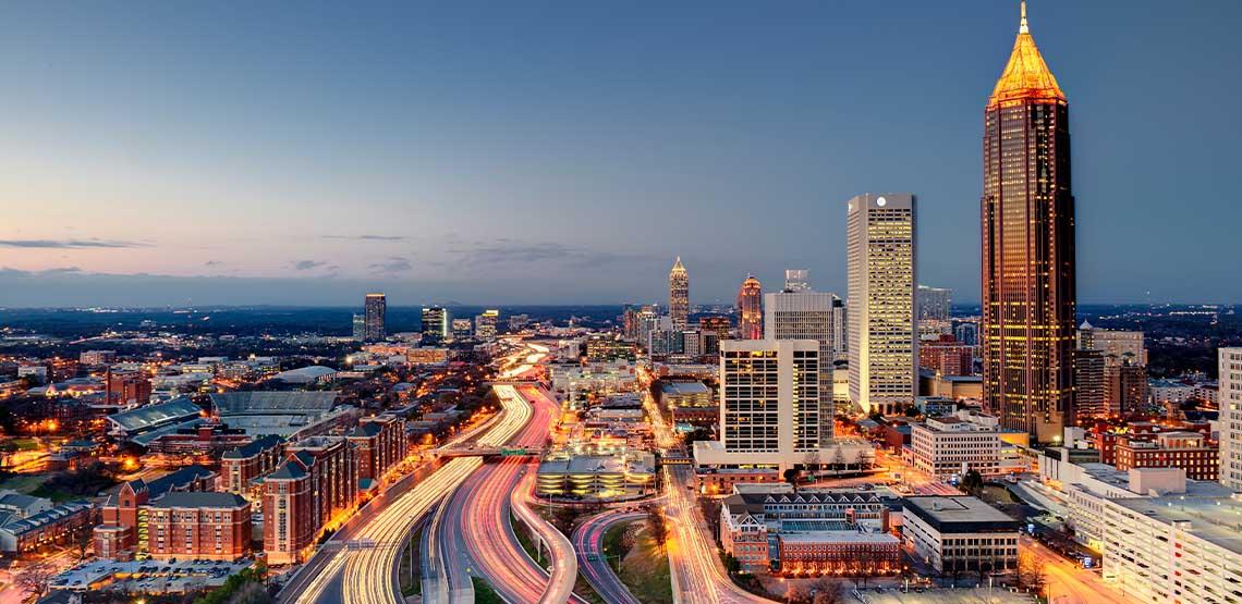 Atlanta cityscape as the sun sets.