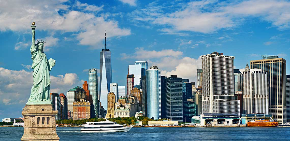 The New York skyline with the Statue of Liberty.