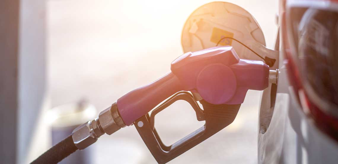 A gas nozzle in a vehicle.