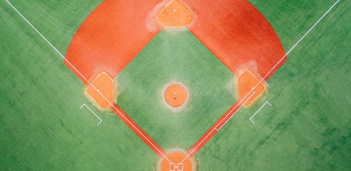 An overhead view of a baseball park.