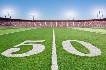 A football field and stadium.